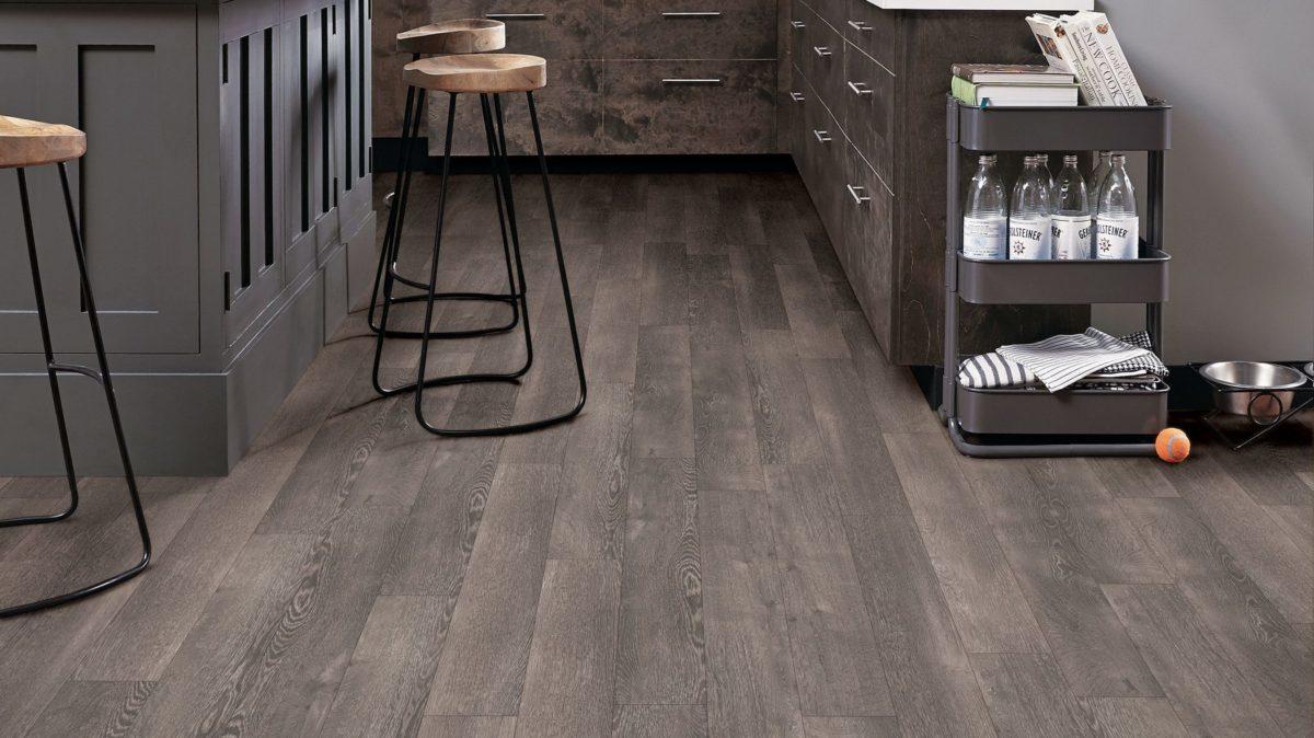 Armstrong Flooring kitchen design metal saddle stool
