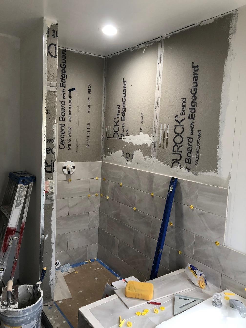 Bathroom walls installation