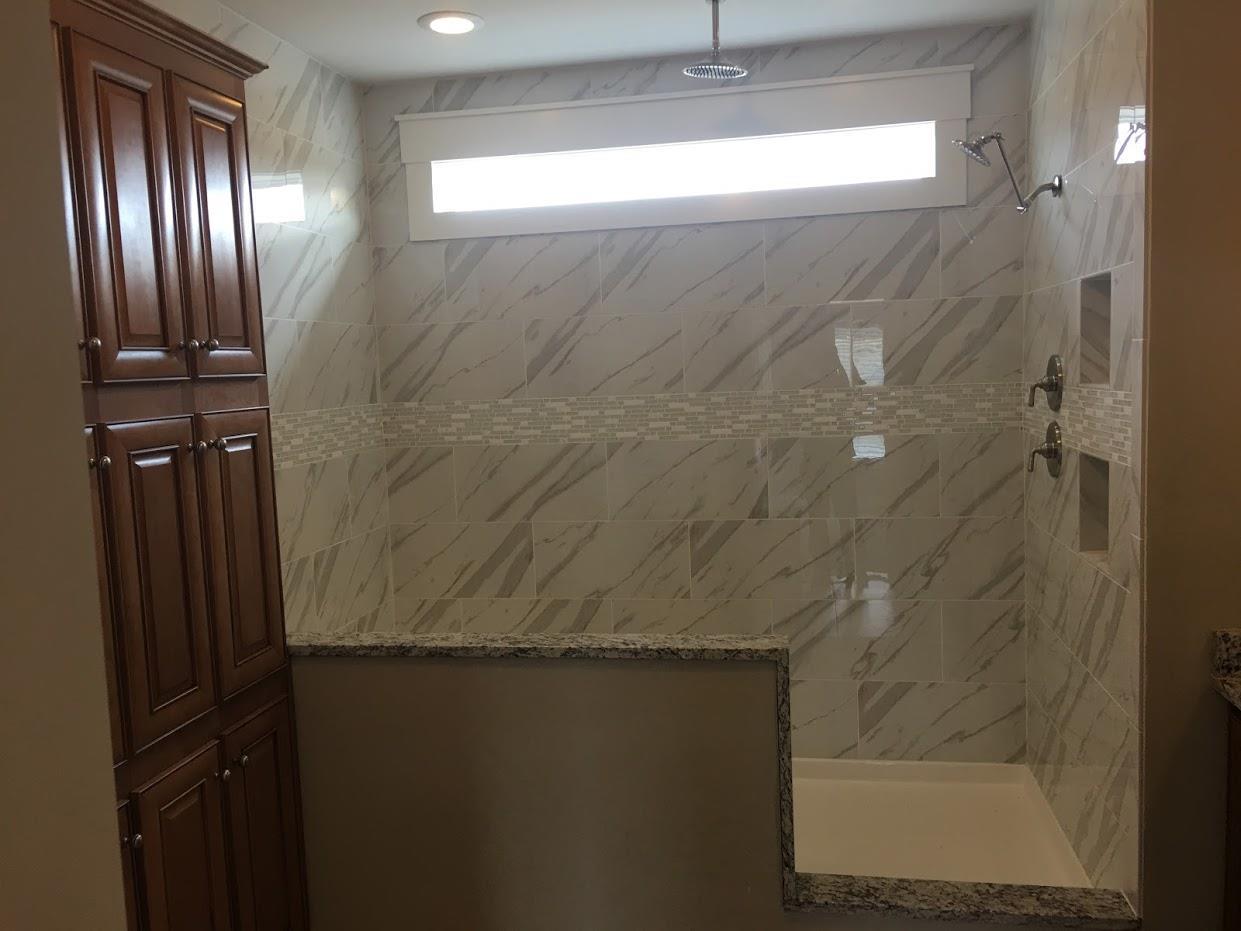 Wooden bathroom door and shower room