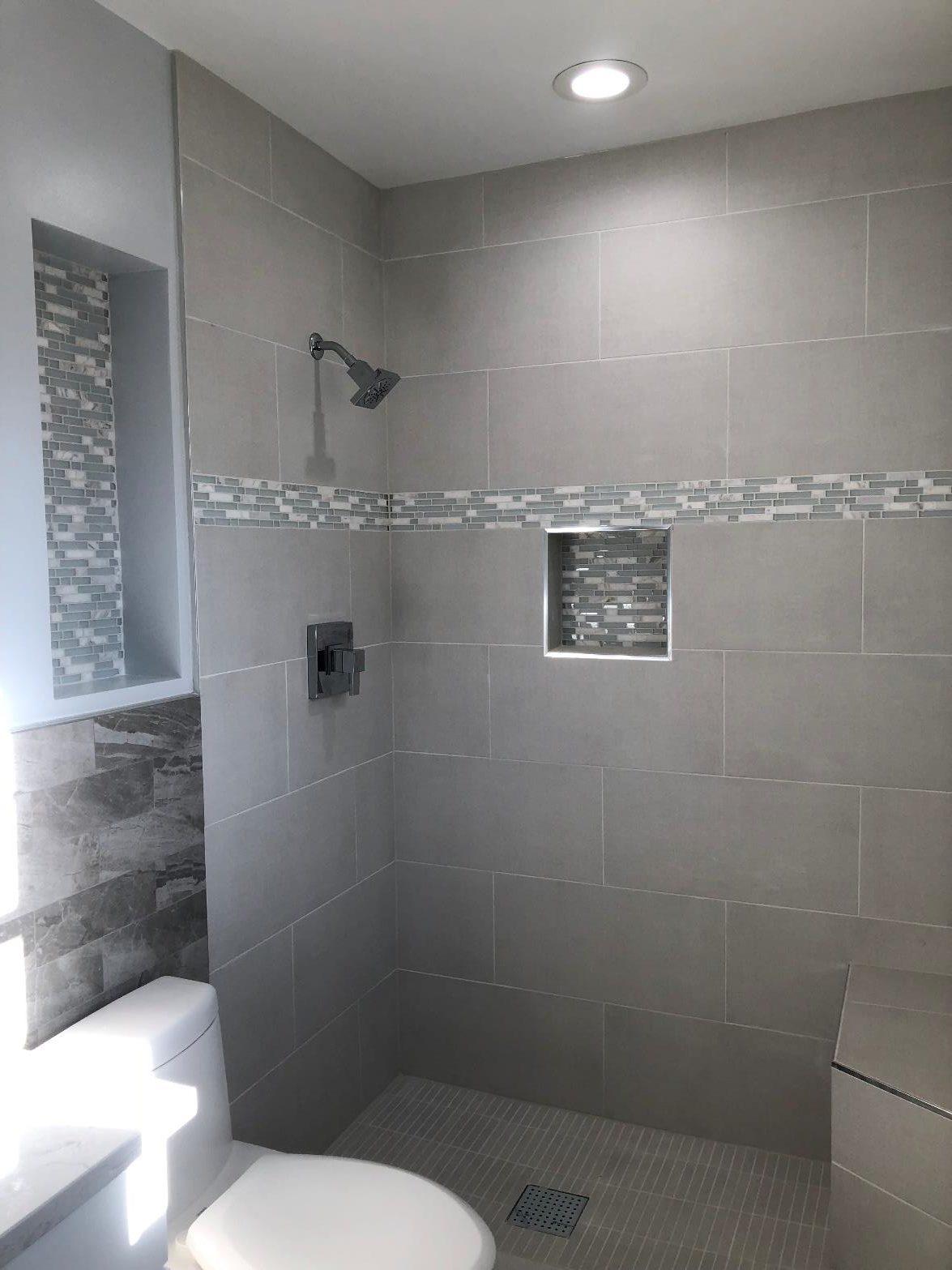 Master bathroom shower room and toilet setup