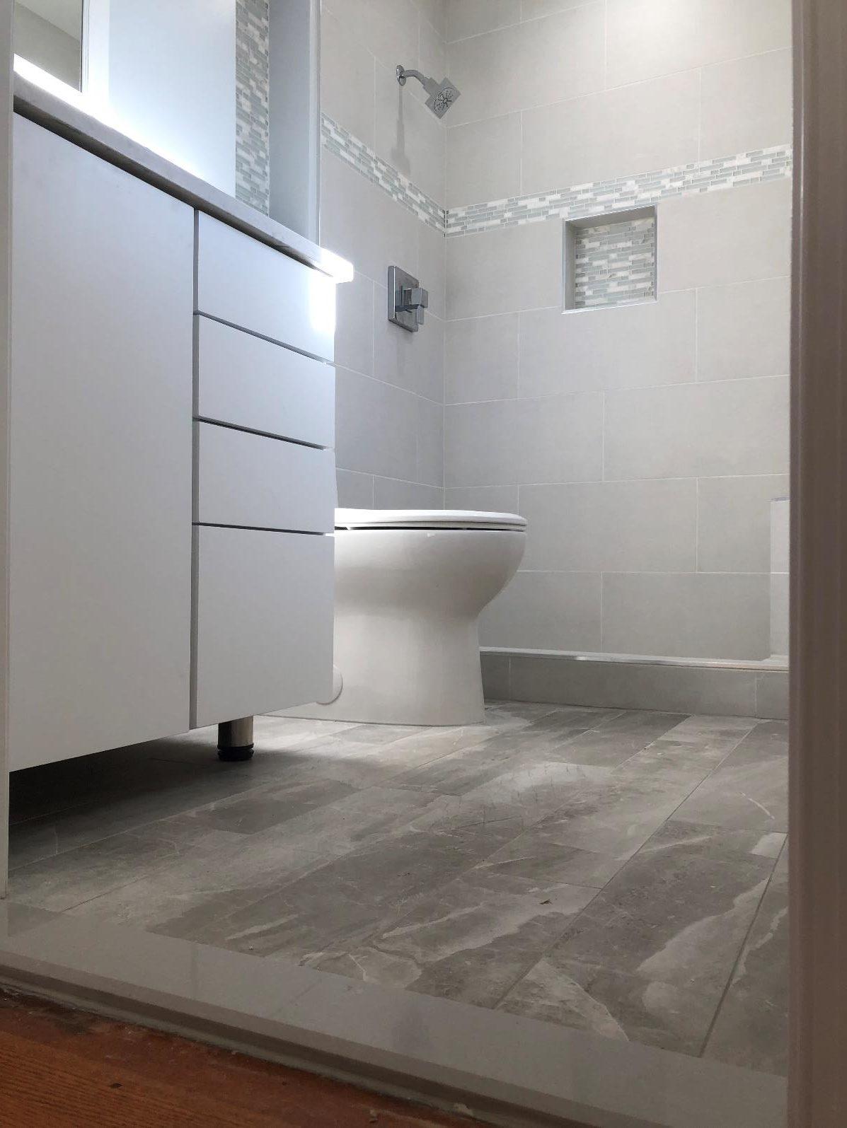 master bath toilet and bathroom cabinet installation