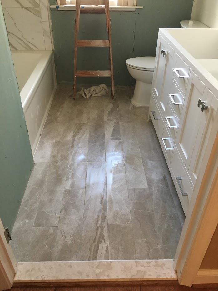 bathroom entryway and cabinets