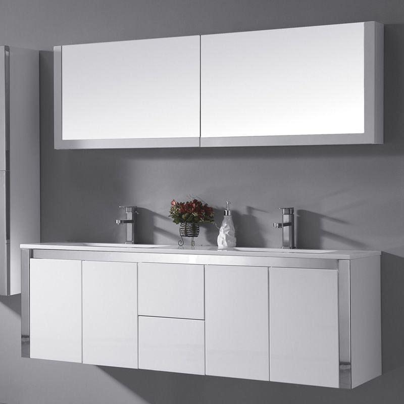 Bathroom Vanities dual sink white drawers