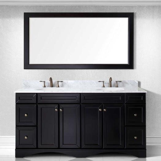 Bathroom Vanities dual marble sink multiple wooden drawers