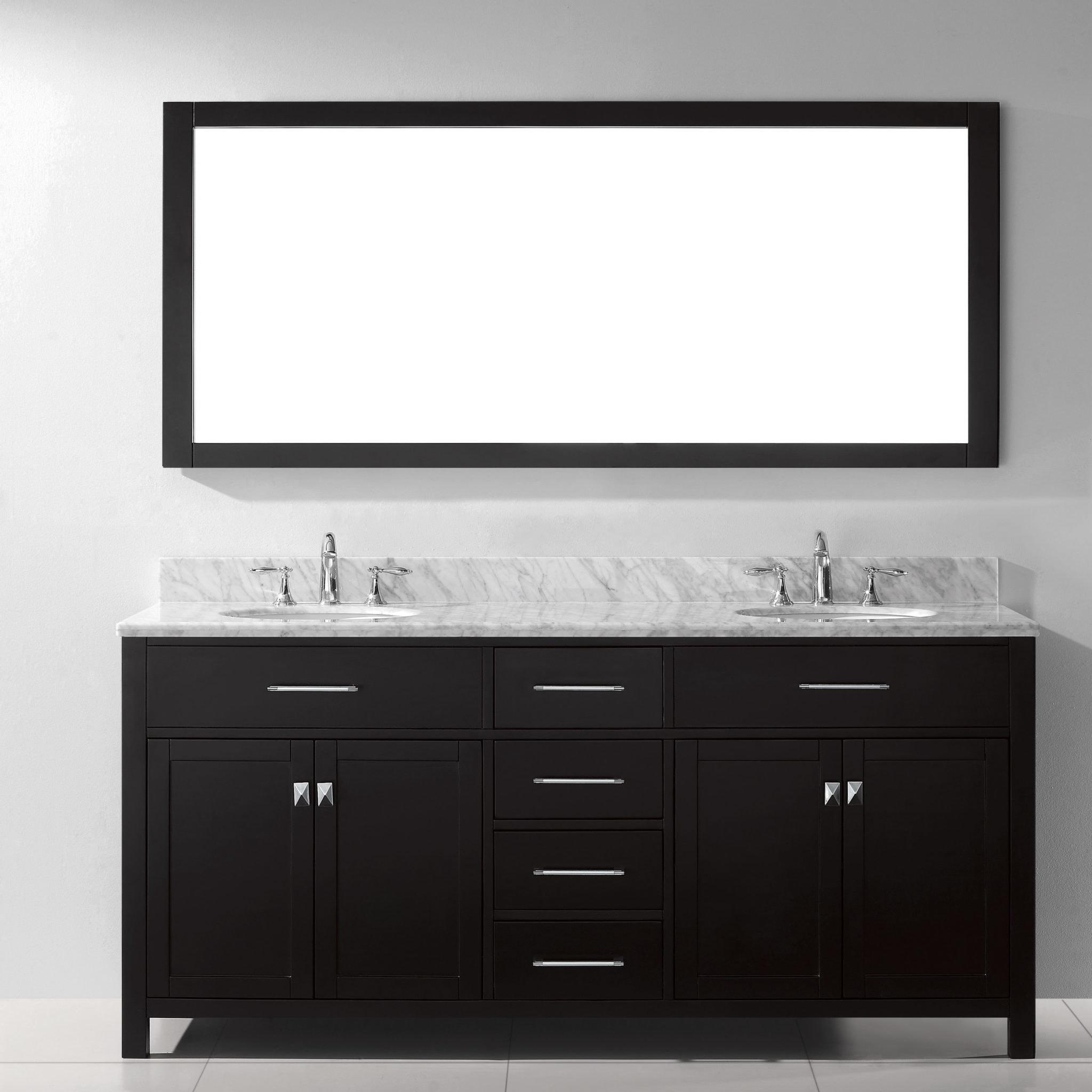 Bathroom Vanities dual marble sink wooden cabinet and drawers