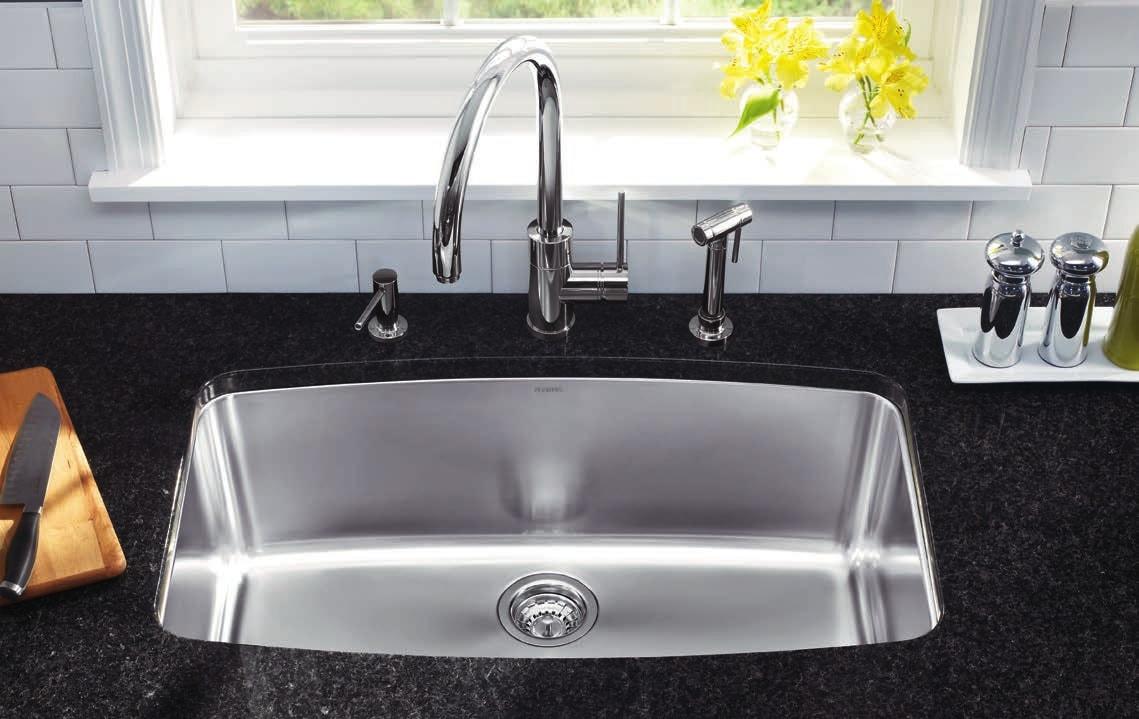 Single basin Blanco Sinks with granite table top