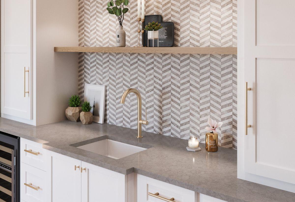 Cambria Countertop Stone minimalist kitchen design with white cabinets