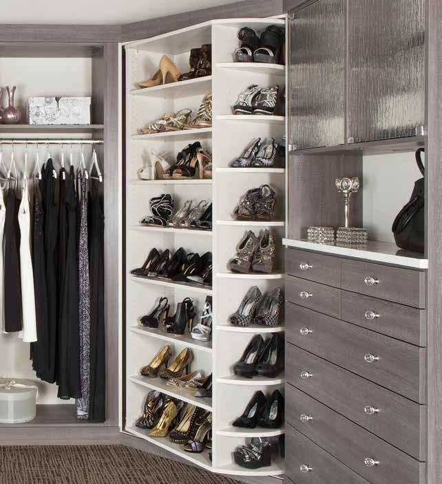 Multi-layer shoe rack in a custom dressing room