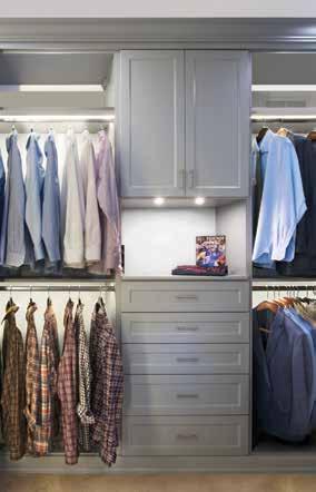 Elegant pale blue closet and dressing room