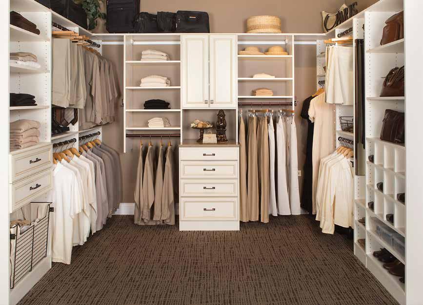 Custom white closet & dressing room with bag and shoe rack