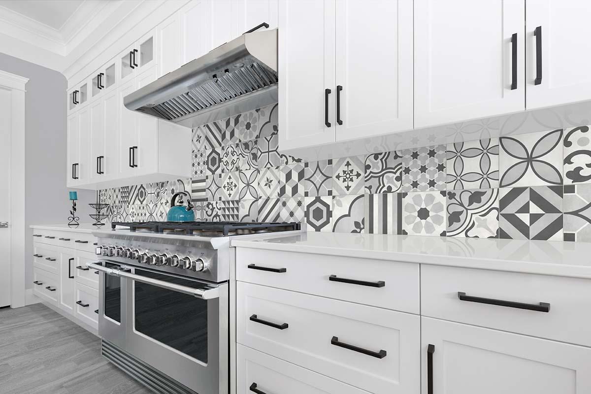 Contemporary white kitchen design with Conestoga tile