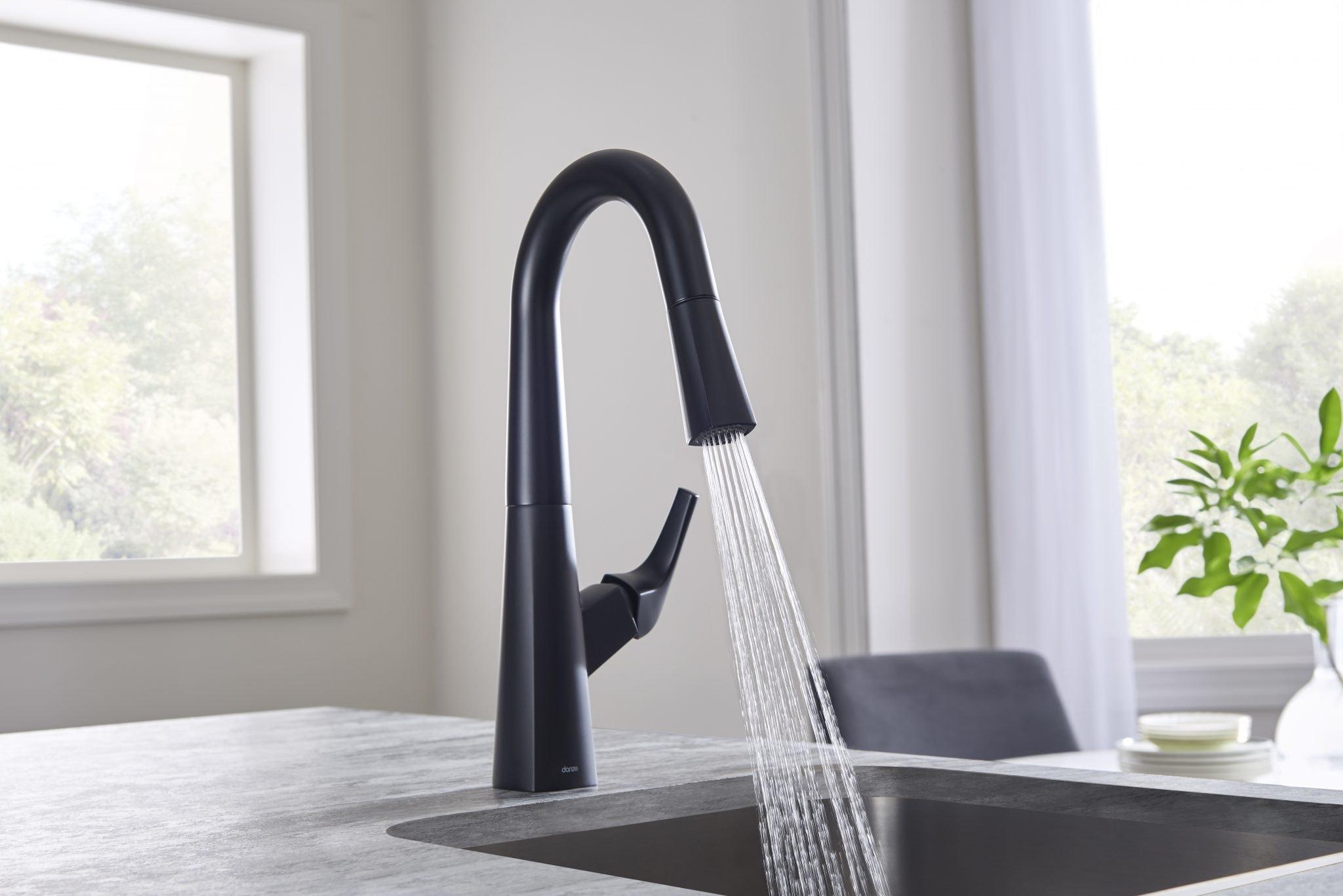 Danze Faucets black variant setup marble sink