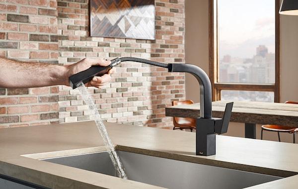 Danze Faucets brick wall kitchen design