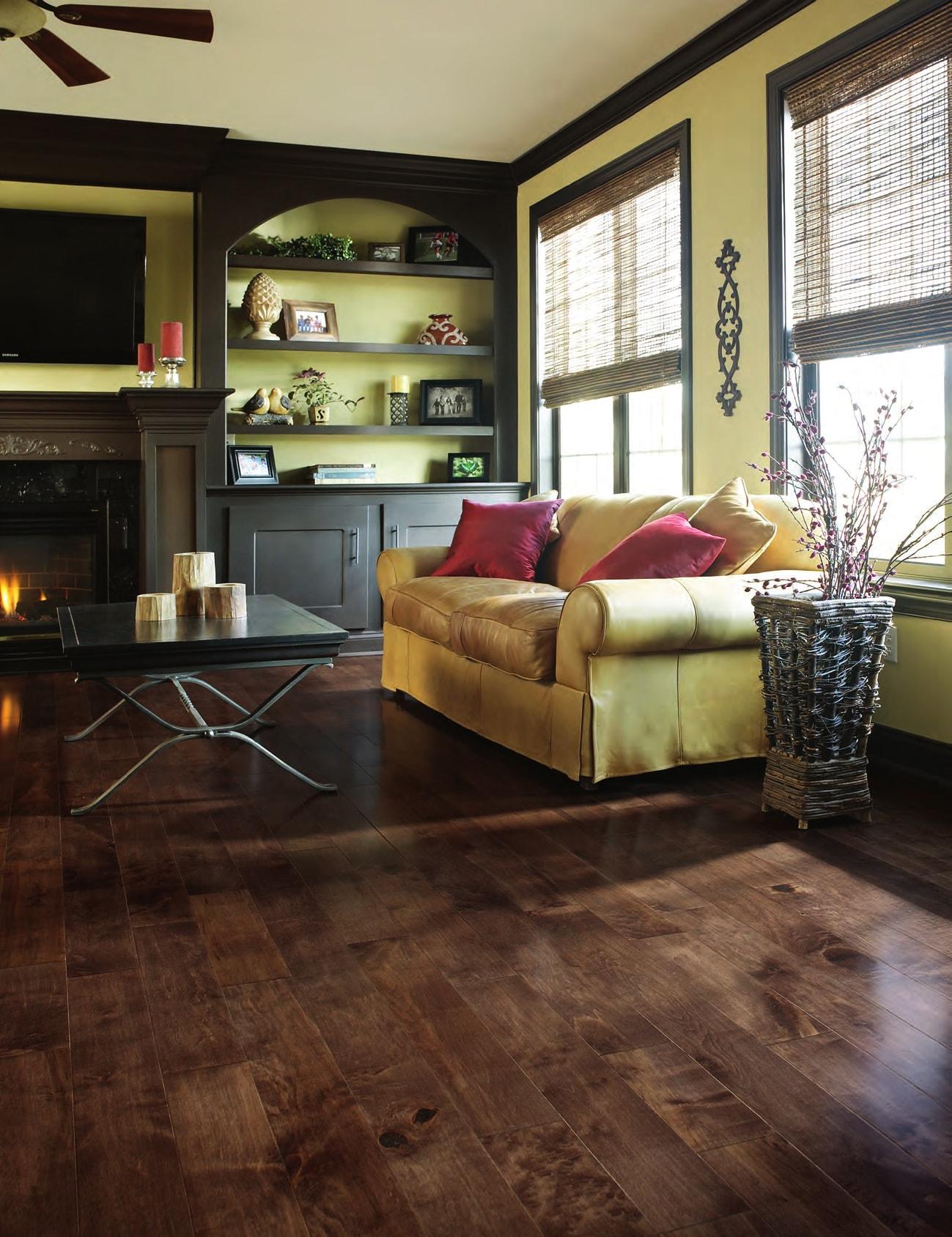 Homer Wood monochromatic living space hardwood flooring