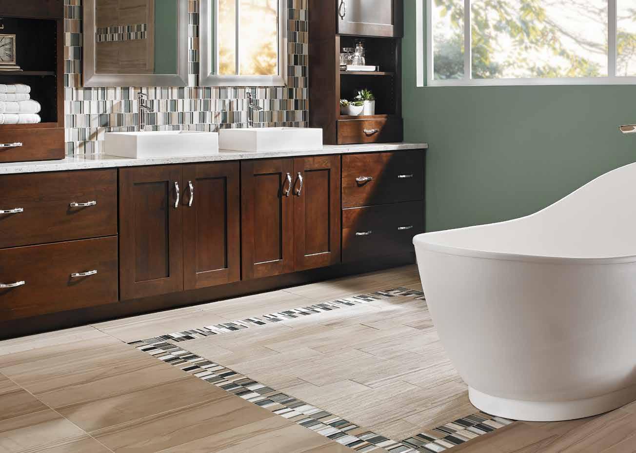 MSI Mosaic tiles in modern bathroom design with soak up bath tub