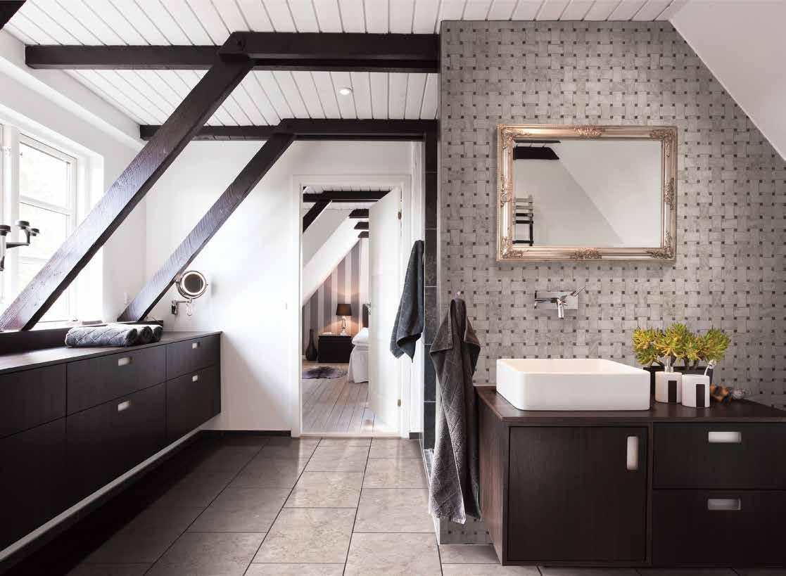 MSI Mosaic tiles modern bathroom walls installation with minimalist sink