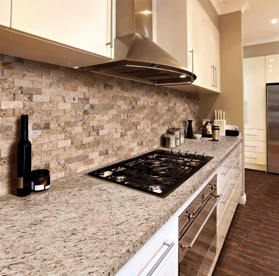 MSI Mosaic modern kitchen walls installation with cream cabinets