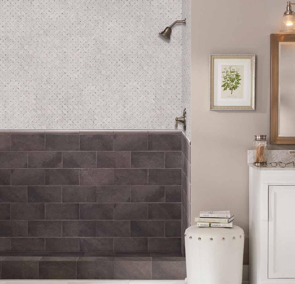 MSI Mosaic tiles shower room walls installation
