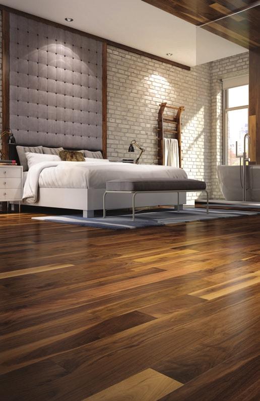 Mercier Floor in a modern bedroom design with tall headboard and mosaic tiles