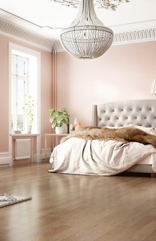 Mercier Floor in pastel bedroom wall with chandelier