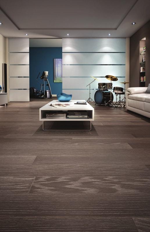 Mercier Floor modern living space with drum set and lighting