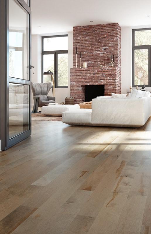 Mercier Floor living space with brick furnace