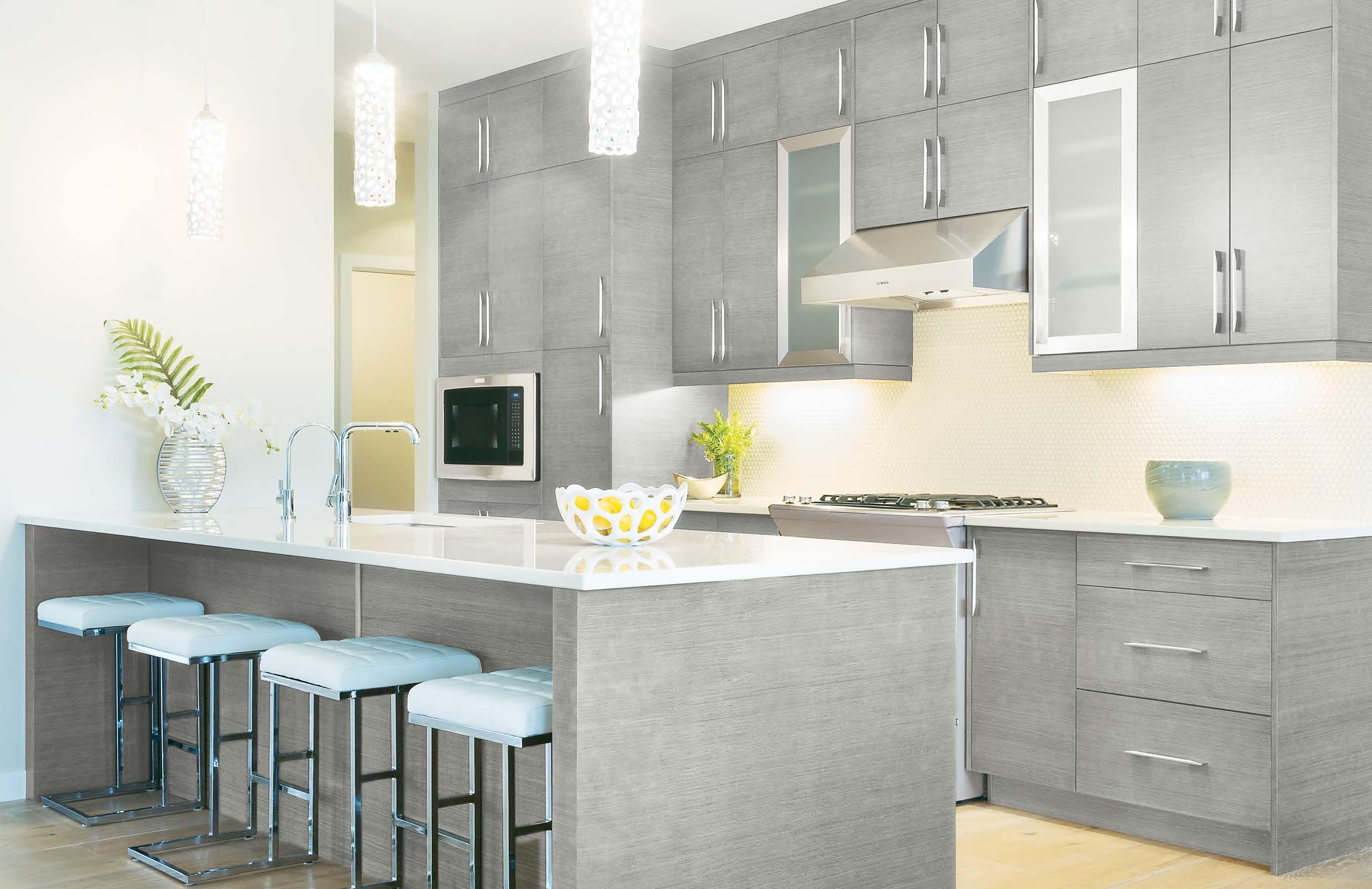 Grey Vista kitchen cabinets in white walls