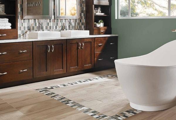 Modern bathroom design with hardwood tile flooring
