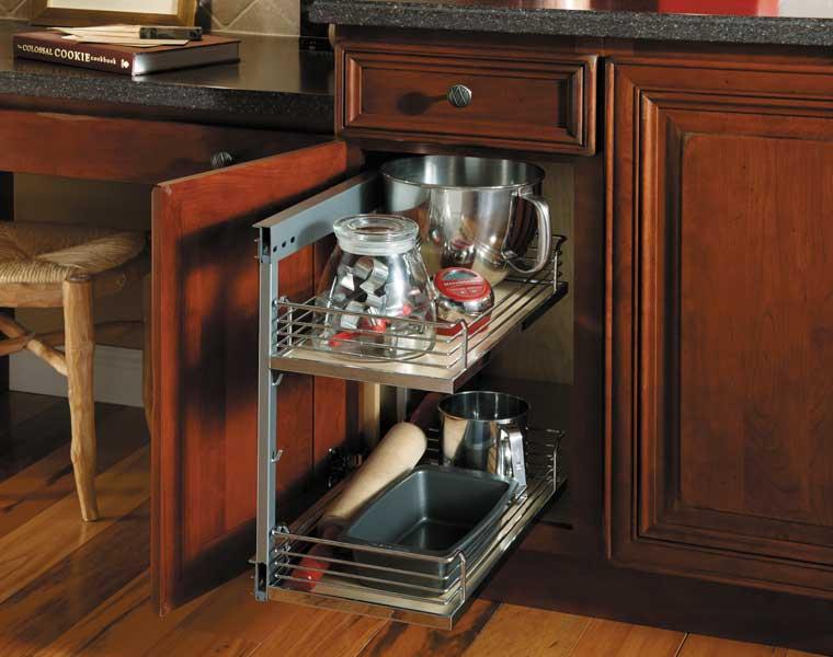 Base Pantry with Chrome/Wood Basket Shelves